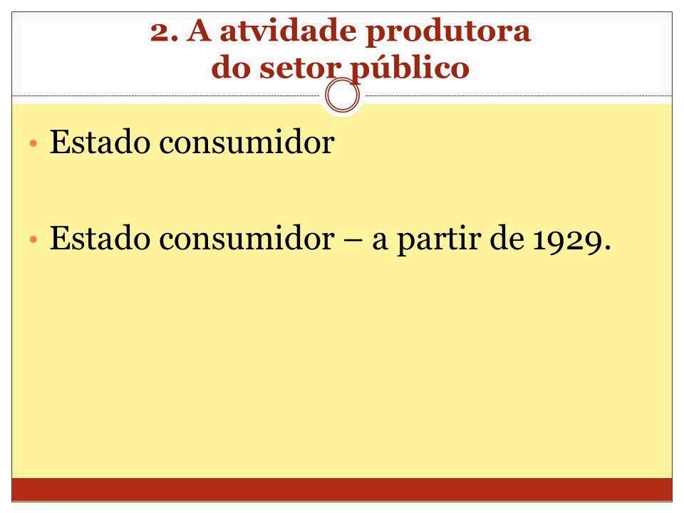 2. A atvidade produtora do setor público Estado consumidor Estado consumidor – a partir de 1929.