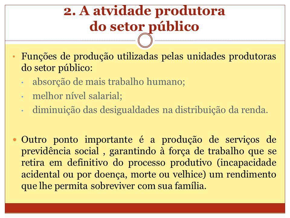 2. A atvidade produtora do setor público Funções de produção utilizadas pelas unidades produtoras do setor público: absorção de mais trabalho humano;