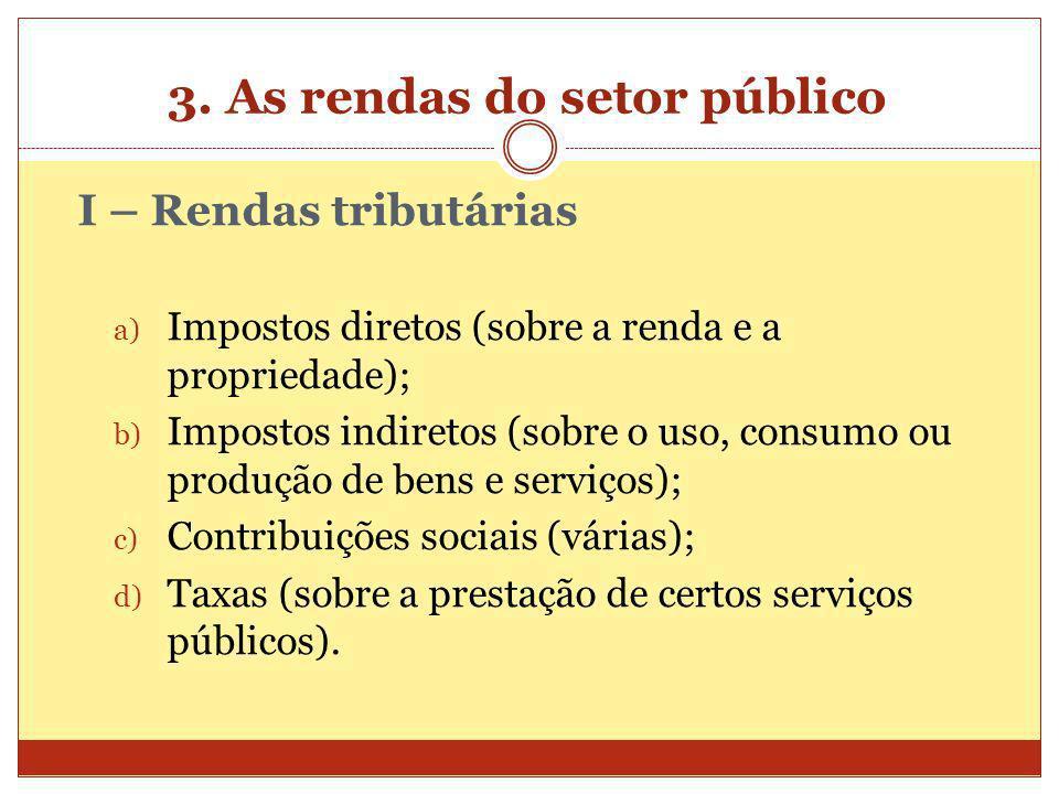 3. As rendas do setor público I – Rendas tributárias a) Impostos diretos (sobre a renda e a propriedade); b) Impostos indiretos (sobre o uso, consumo