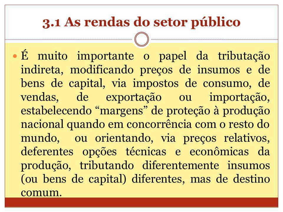 3.1 As rendas do setor público É muito importante o papel da tributação indireta, modificando preços de insumos e de bens de capital, via impostos de