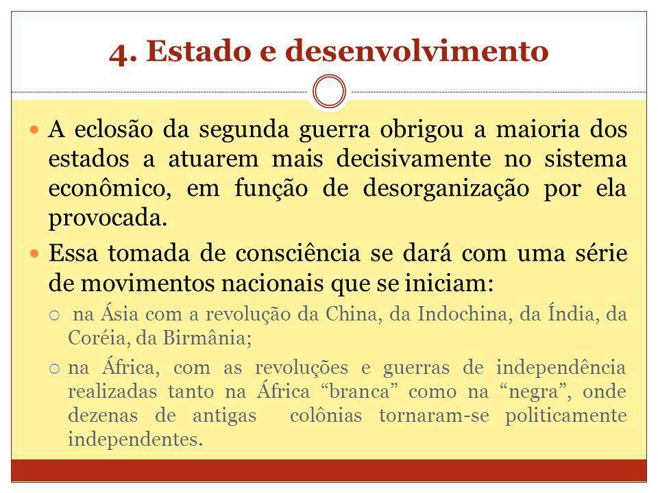 4. Estado e desenvolvimento A eclosão da segunda guerra obrigou a maioria dos estados a atuarem mais decisivamente no sistema econômico, em função de