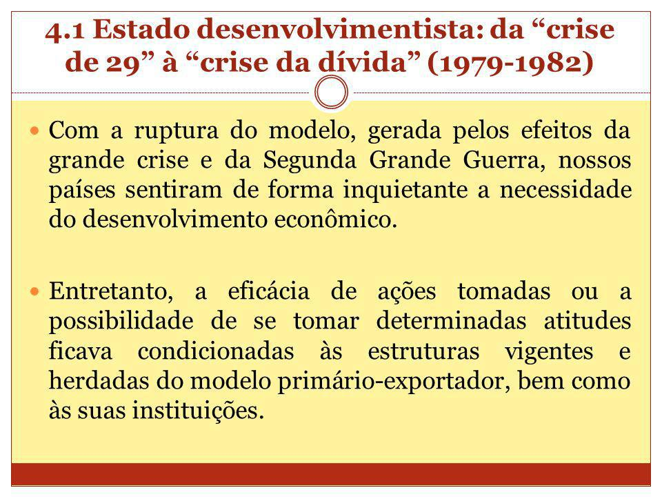 4.1 Estado desenvolvimentista: da crise de 29 à crise da dívida (1979-1982) Com a ruptura do modelo, gerada pelos efeitos da grande crise e da Segunda