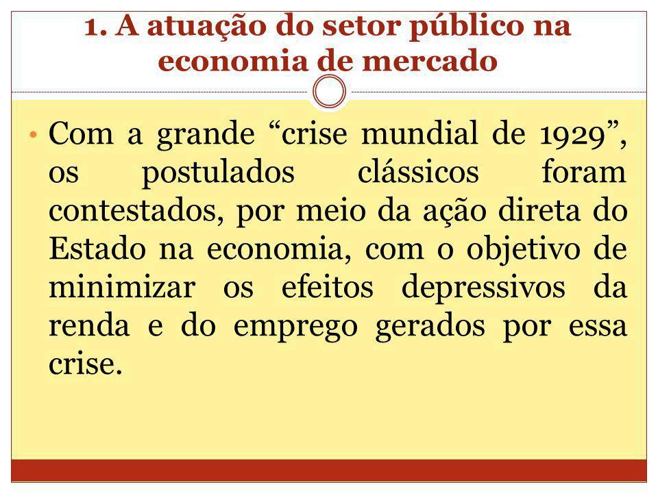 Com a grande crise mundial de 1929, os postulados clássicos foram contestados, por meio da ação direta do Estado na economia, com o objetivo de minimi