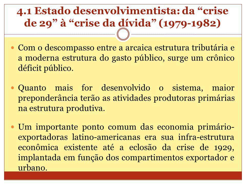 4.1 Estado desenvolvimentista: da crise de 29 à crise da dívida (1979-1982) Com o descompasso entre a arcaica estrutura tributária e a moderna estrutu