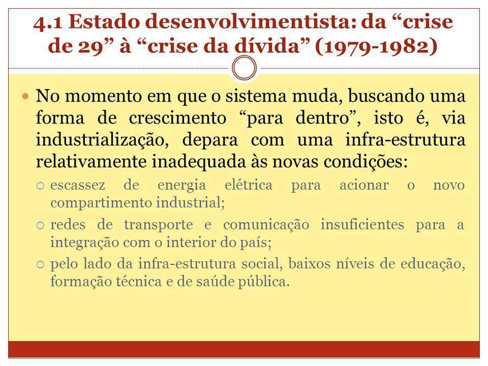 4.1 Estado desenvolvimentista: da crise de 29 à crise da dívida (1979-1982) No momento em que o sistema muda, buscando uma forma de crescimento para d