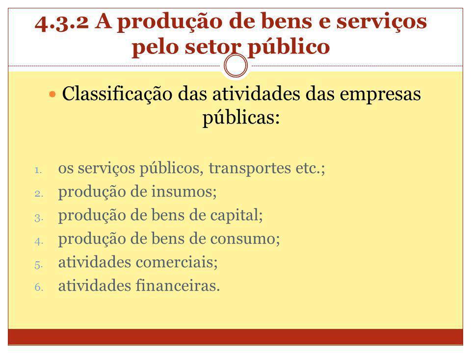4.3.2 A produção de bens e serviços pelo setor público Classificação das atividades das empresas públicas: 1. os serviços públicos, transportes etc.;
