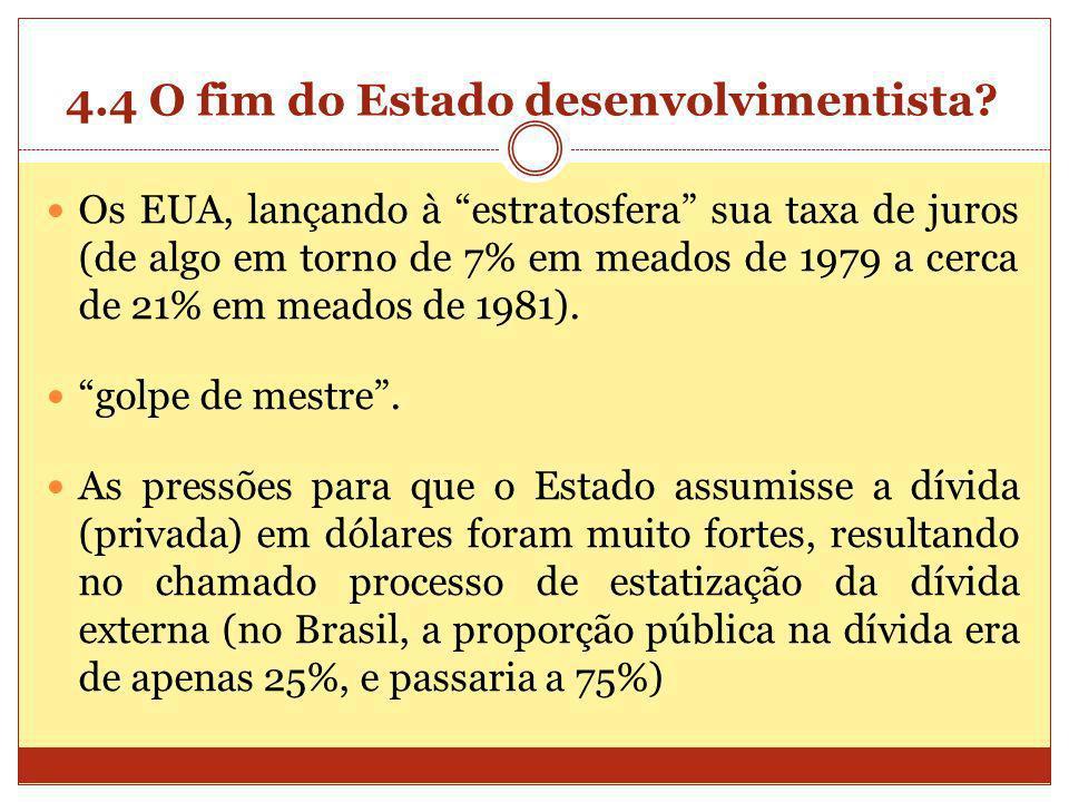 4.4 O fim do Estado desenvolvimentista? Os EUA, lançando à estratosfera sua taxa de juros (de algo em torno de 7% em meados de 1979 a cerca de 21% em
