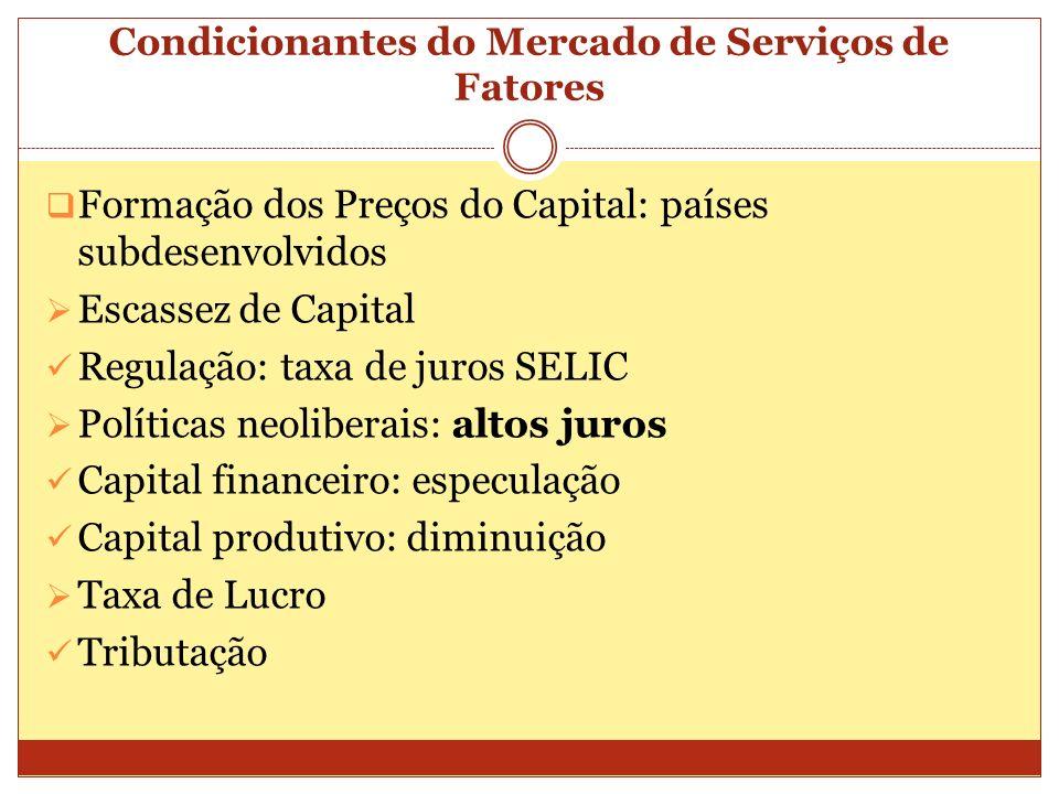 Condicionantes do Mercado de Serviços de Fatores Formação dos Preços do Capital: países subdesenvolvidos Escassez de Capital Regulação: taxa de juros