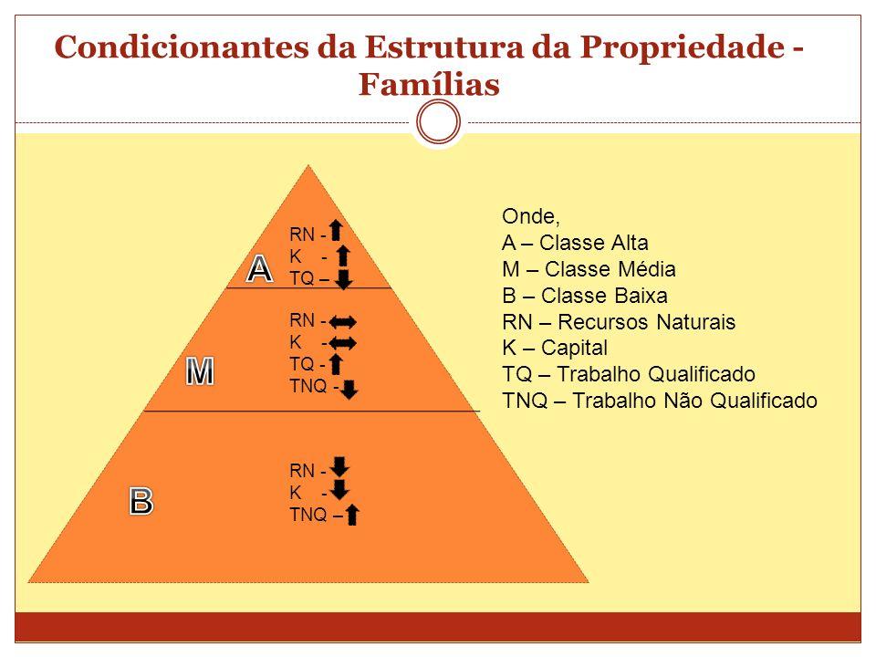 Condicionantes da Estrutura da Propriedade - Famílias RN - K - TQ – RN - K - TQ - TNQ - RN - K - TNQ – Onde, A – Classe Alta M – Classe Média B – Clas