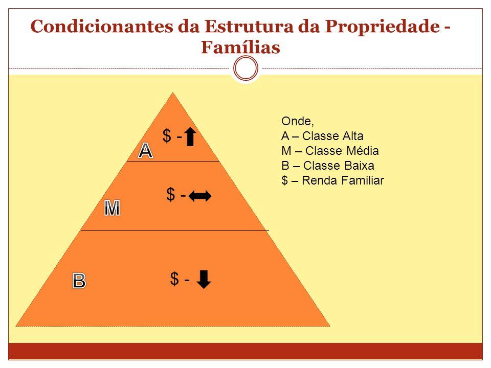 Condicionantes da Estrutura da Propriedade - Famílias $ - Onde, A – Classe Alta M – Classe Média B – Classe Baixa $ – Renda Familiar $ -