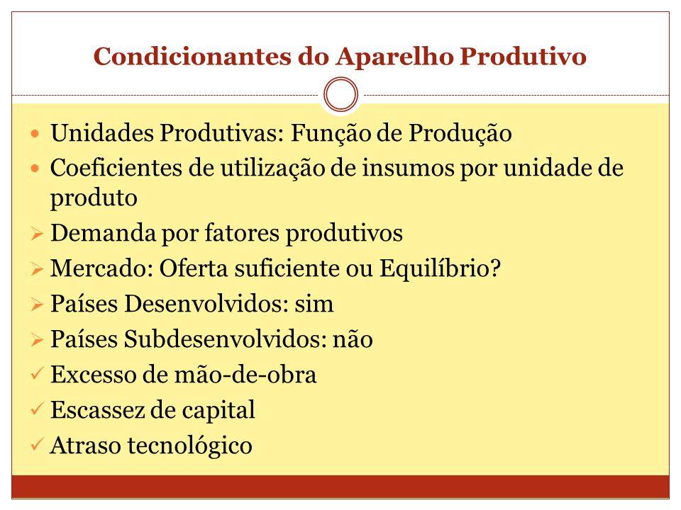 Condicionantes do Aparelho Produtivo Unidades Produtivas: Função de Produção Coeficientes de utilização de insumos por unidade de produto Demanda por