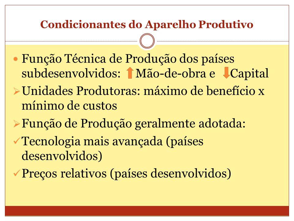 Condicionantes do Aparelho Produtivo Função Técnica de Produção dos países subdesenvolvidos: Mão-de-obra e Capital Unidades Produtoras: máximo de bene