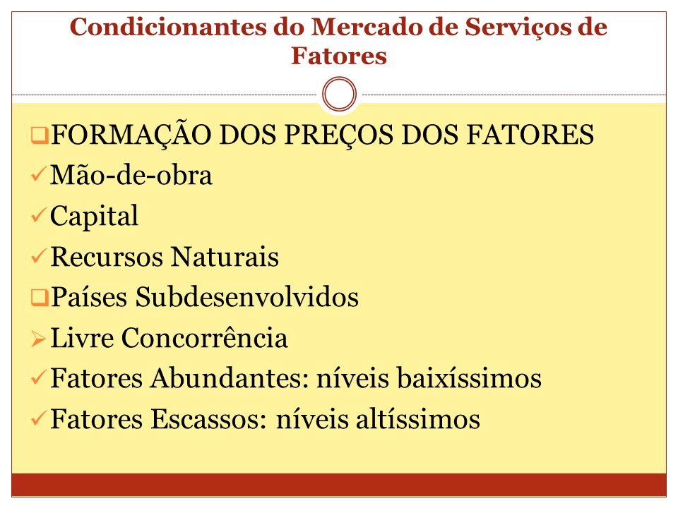 Condicionantes do Mercado de Serviços de Fatores FORMAÇÃO DOS PREÇOS DOS FATORES Mão-de-obra Capital Recursos Naturais Países Subdesenvolvidos Livre C