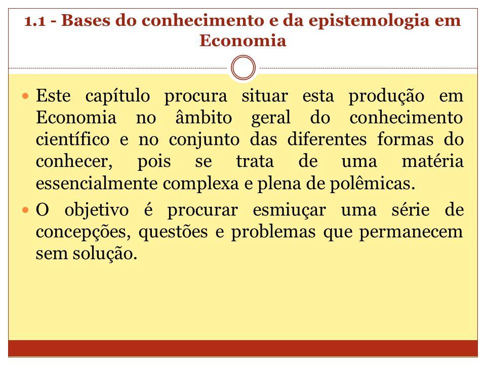 1.1 - Bases do conhecimento e da epistemologia em Economia Este capítulo procura situar esta produção em Economia no âmbito geral do conhecimento cien
