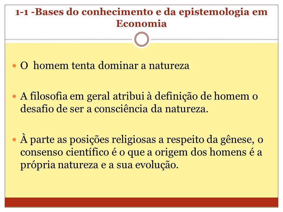 1-1 -Bases do conhecimento e da epistemologia em Economia O homem tenta dominar a natureza A filosofia em geral atribui à definição de homem o desafio