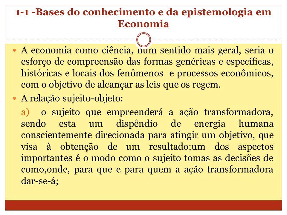 1-1 -Bases do conhecimento e da epistemologia em Economia A economia como ciência, num sentido mais geral, seria o esforço de compreensão das formas g