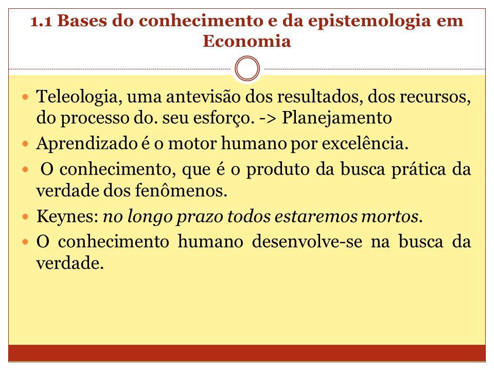 1.1 Bases do conhecimento e da epistemologia em Economia Teleologia, uma antevisão dos resultados, dos recursos, do processo do. seu esforço. -> Plane