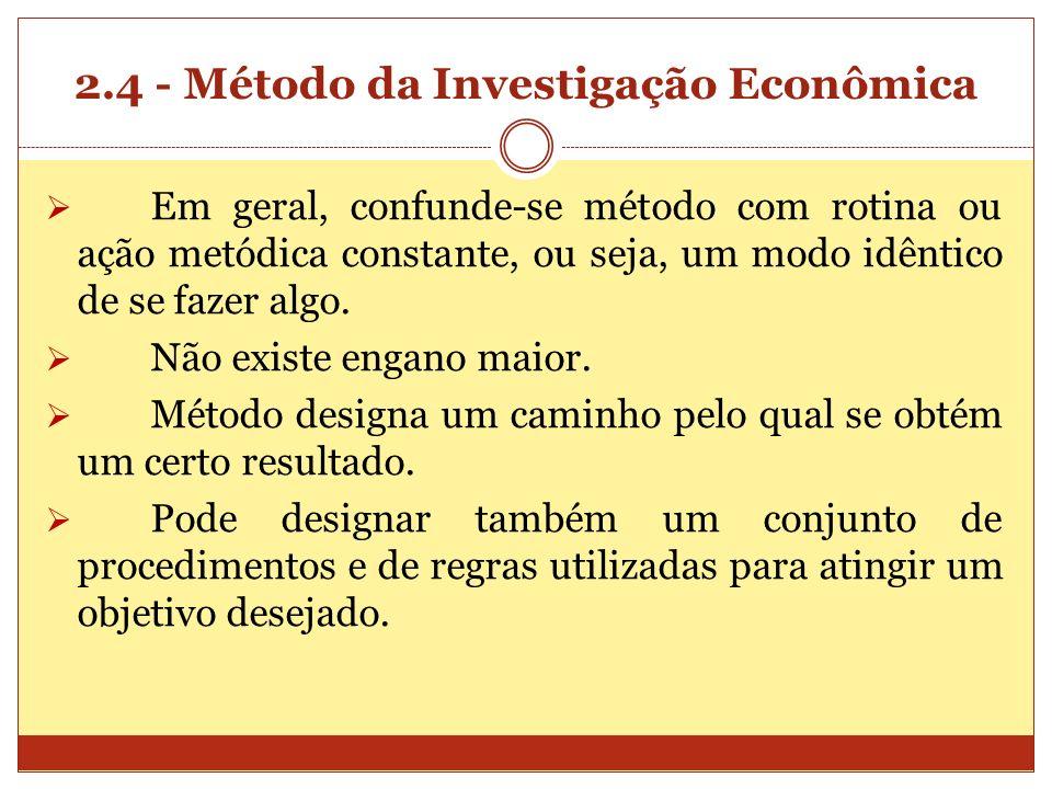 2.4 - Método da Investigação Econômica Em geral, confunde-se método com rotina ou ação metódica constante, ou seja, um modo idêntico de se fazer algo.