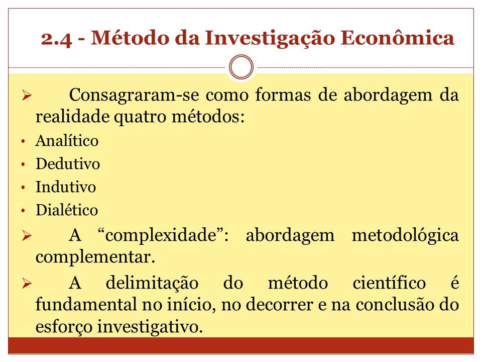 2.4 - Método da Investigação Econômica Consagraram-se como formas de abordagem da realidade quatro métodos: Analítico Dedutivo Indutivo Dialético A co