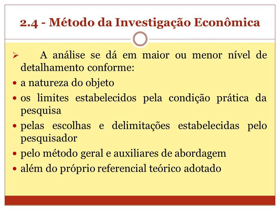 2.4 - Método da Investigação Econômica A análise se dá em maior ou menor nível de detalhamento conforme: a natureza do objeto os limites estabelecidos