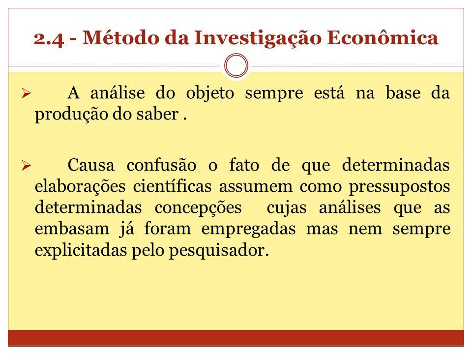 2.4 - Método da Investigação Econômica A análise do objeto sempre está na base da produção do saber. Causa confusão o fato de que determinadas elabora