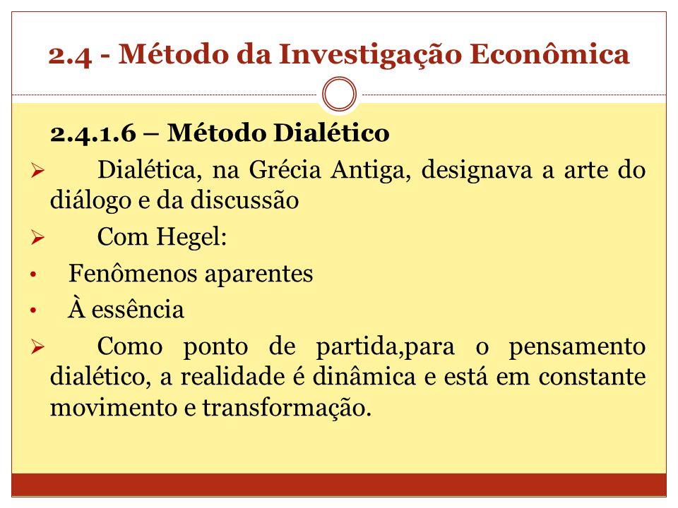 2.4 - Método da Investigação Econômica 2.4.1.6 – Método Dialético Dialética, na Grécia Antiga, designava a arte do diálogo e da discussão Com Hegel: F