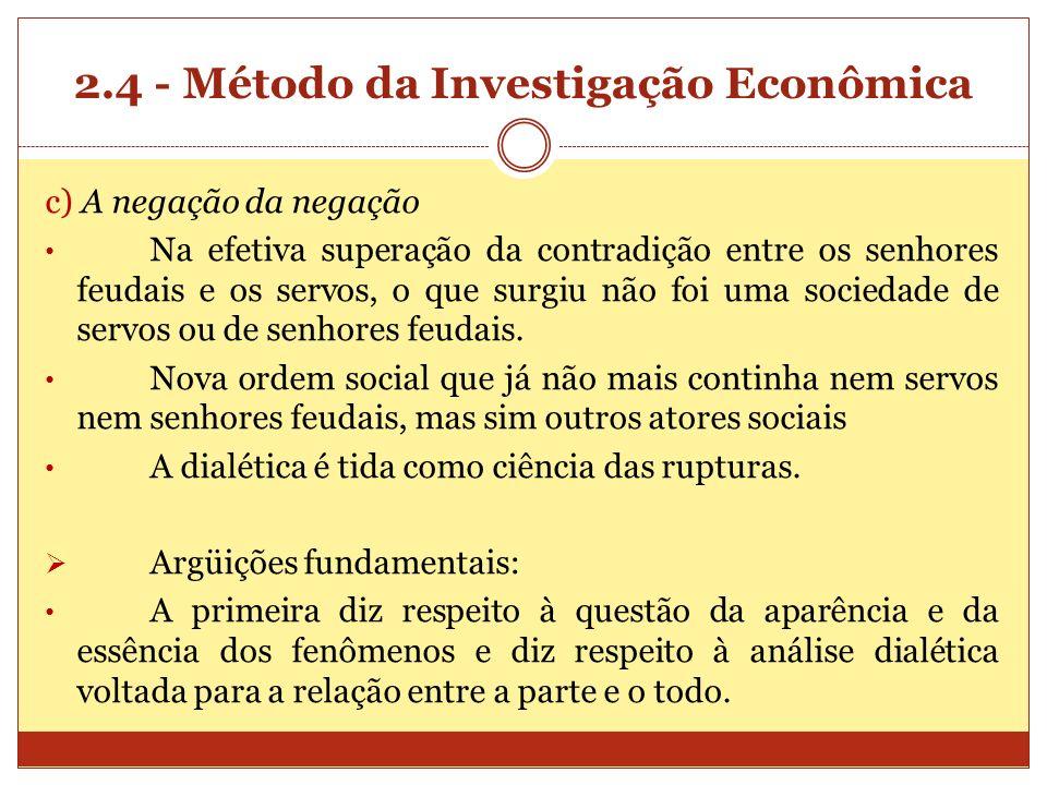 2.4 - Método da Investigação Econômica c) A negação da negação Na efetiva superação da contradição entre os senhores feudais e os servos, o que surgiu