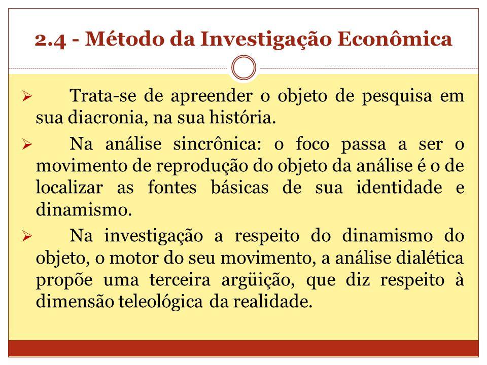 2.4 - Método da Investigação Econômica Trata-se de apreender o objeto de pesquisa em sua diacronia, na sua história. Na análise sincrônica: o foco pas