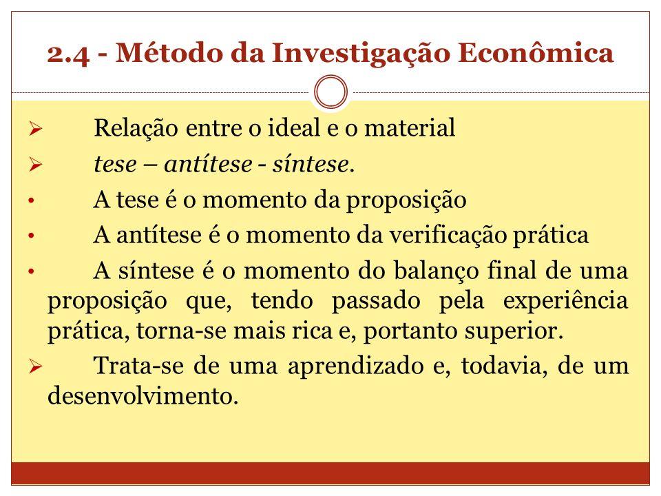 2.4 - Método da Investigação Econômica Relação entre o ideal e o material tese – antítese - síntese. A tese é o momento da proposição A antítese é o m