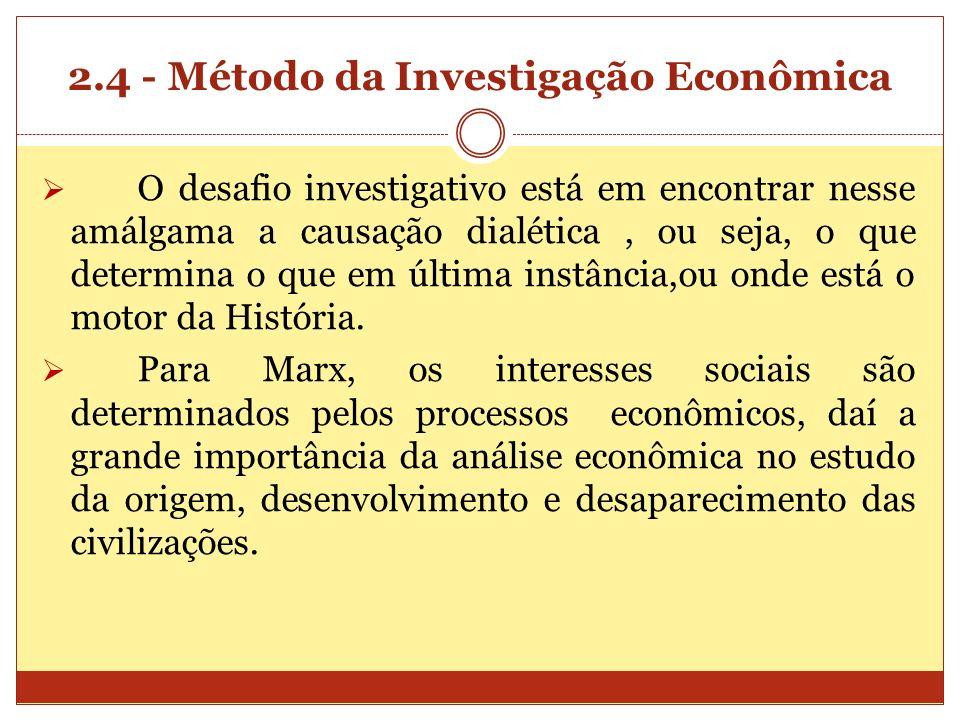 2.4 - Método da Investigação Econômica O desafio investigativo está em encontrar nesse amálgama a causação dialética, ou seja, o que determina o que e