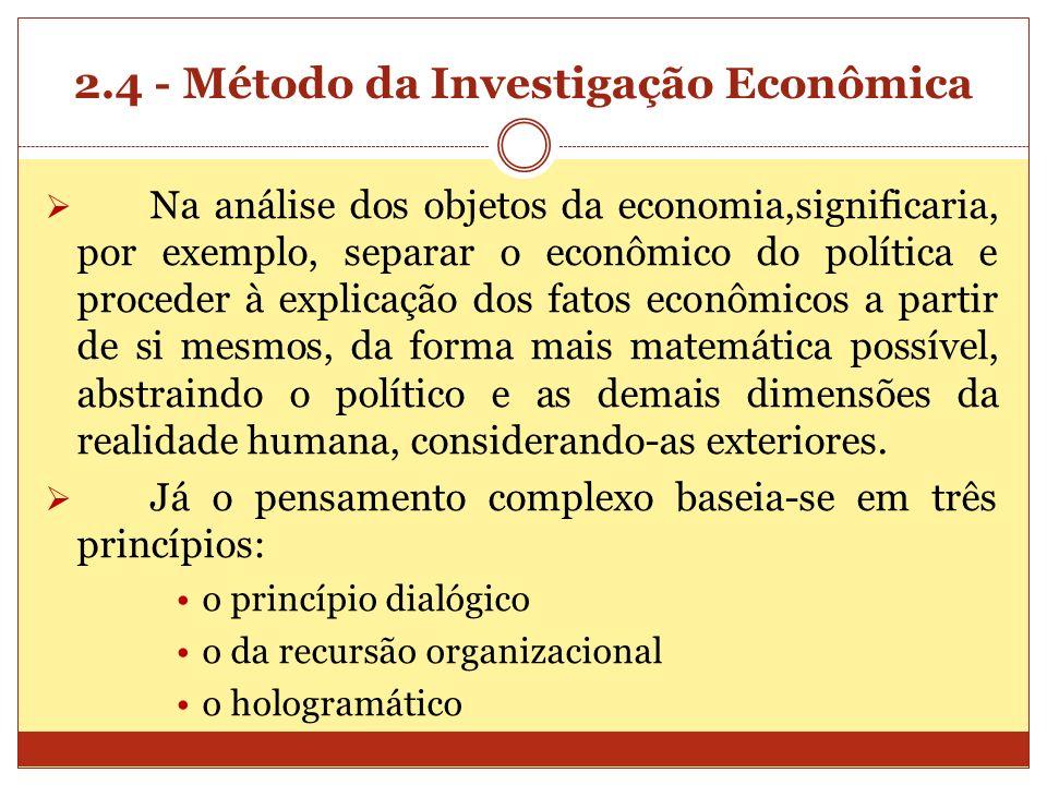2.4 - Método da Investigação Econômica Na análise dos objetos da economia,significaria, por exemplo, separar o econômico do política e proceder à expl