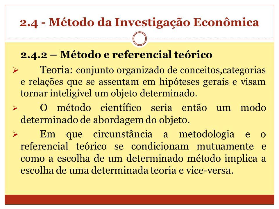 2.4 - Método da Investigação Econômica 2.4.2 – Método e referencial teórico Teoria: conjunto organizado de conceitos,categorias e relações que se asse
