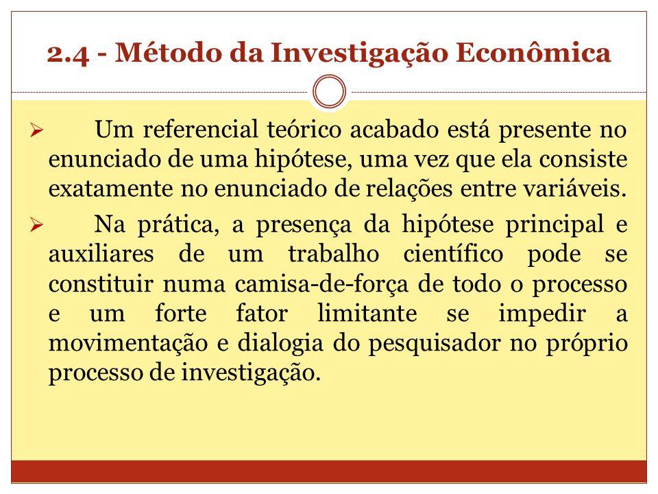 2.4 - Método da Investigação Econômica Um referencial teórico acabado está presente no enunciado de uma hipótese, uma vez que ela consiste exatamente