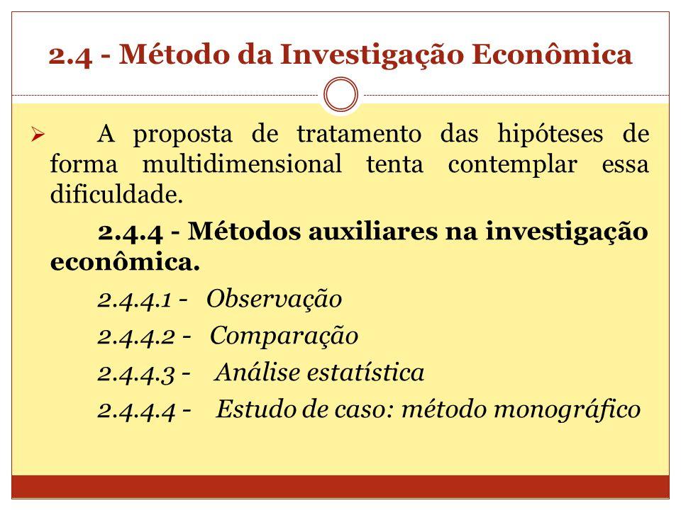 2.4 - Método da Investigação Econômica A proposta de tratamento das hipóteses de forma multidimensional tenta contemplar essa dificuldade. 2.4.4 - Mét
