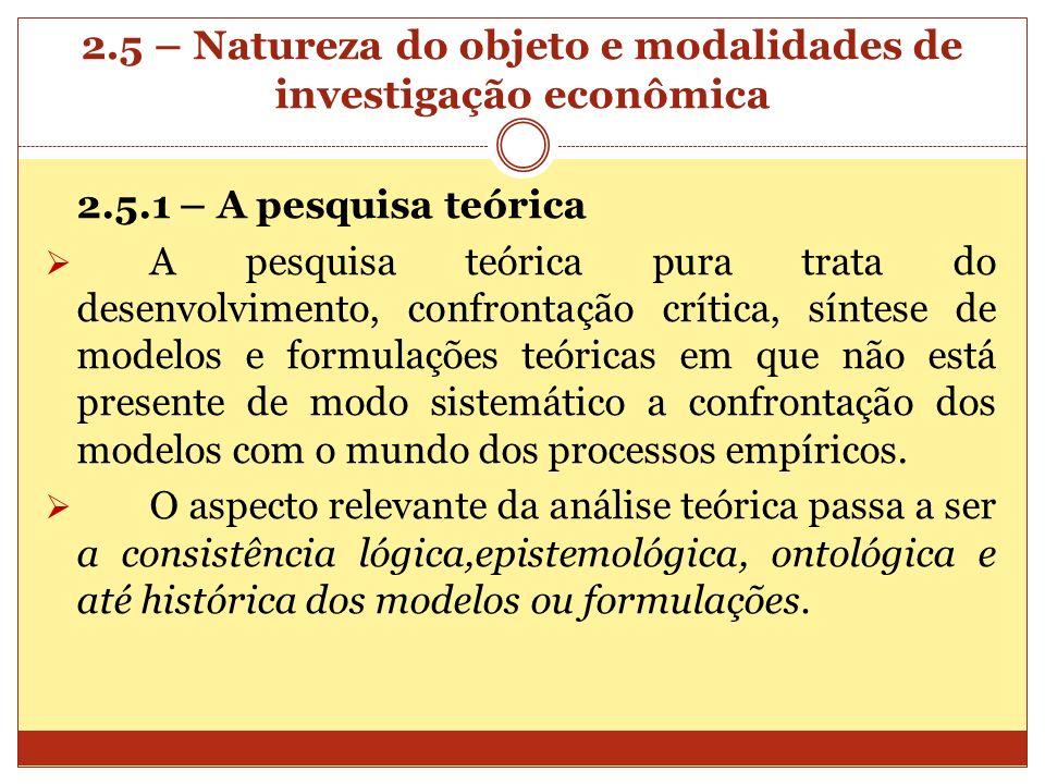 2.5 – Natureza do objeto e modalidades de investigação econômica 2.5.1 – A pesquisa teórica A pesquisa teórica pura trata do desenvolvimento, confront