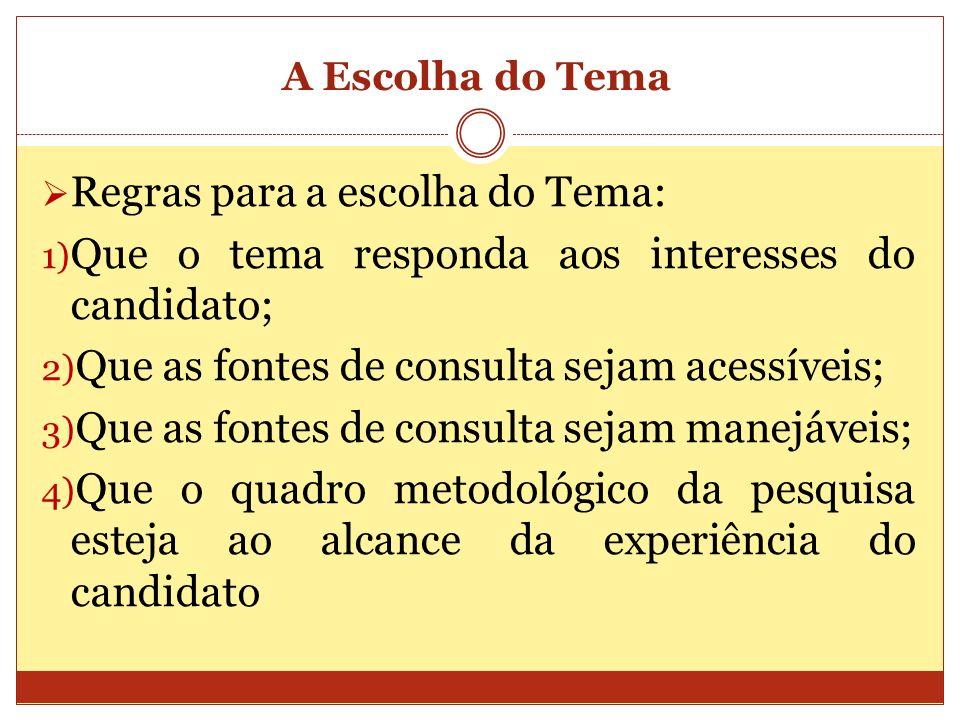 A Escolha do Tema Regras para a escolha do Tema: 1) Que o tema responda aos interesses do candidato; 2) Que as fontes de consulta sejam acessíveis; 3)