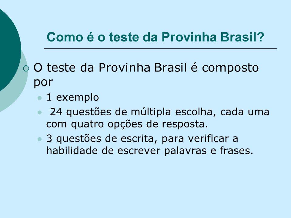 Como é o teste da Provinha Brasil? O teste da Provinha Brasil é composto por 1 exemplo 24 questões de múltipla escolha, cada uma com quatro opções de