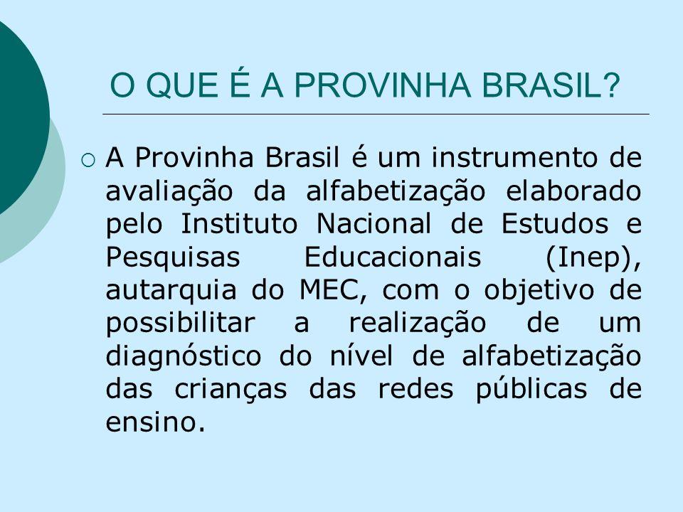 O QUE É A PROVINHA BRASIL? A Provinha Brasil é um instrumento de avaliação da alfabetização elaborado pelo Instituto Nacional de Estudos e Pesquisas E