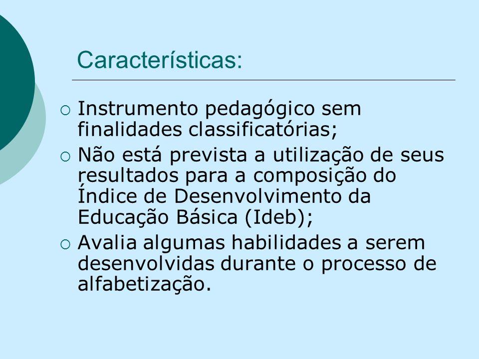 Características: Instrumento pedagógico sem finalidades classificatórias; Não está prevista a utilização de seus resultados para a composição do Índic