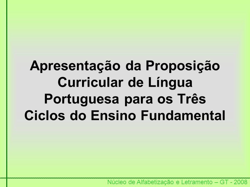 Núcleo de Alfabetização e Letramento – GT - 2008 Apresentação da Proposição Curricular de Língua Portuguesa para os Três Ciclos do Ensino Fundamental