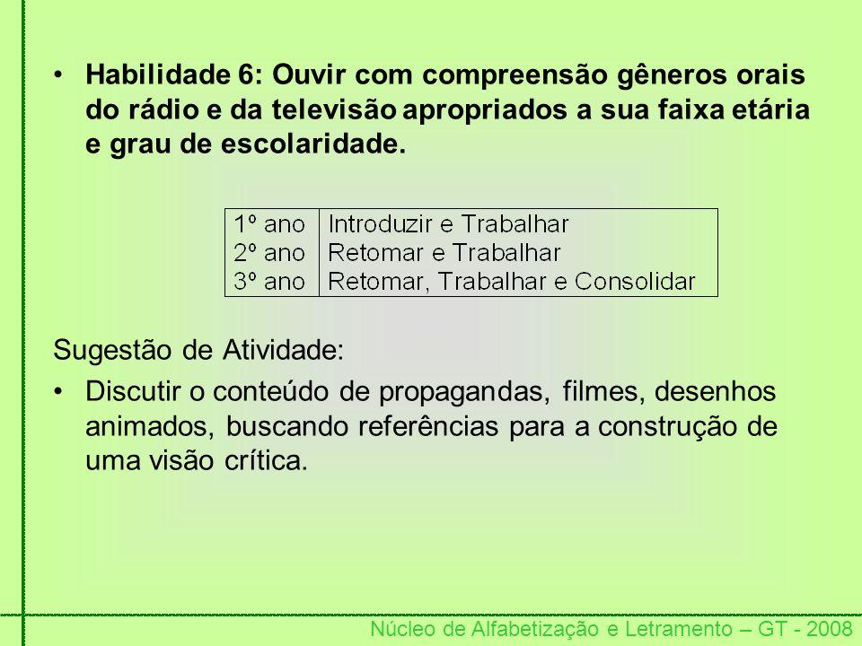 Núcleo de Alfabetização e Letramento – GT - 2008 Habilidade 6: Ouvir com compreensão gêneros orais do rádio e da televisão apropriados a sua faixa etá