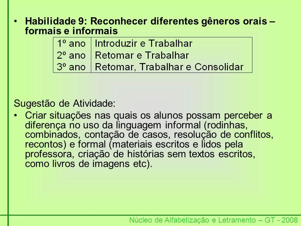 Núcleo de Alfabetização e Letramento – GT - 2008 Habilidade 9: Reconhecer diferentes gêneros orais – formais e informais Sugestão de Atividade: Criar