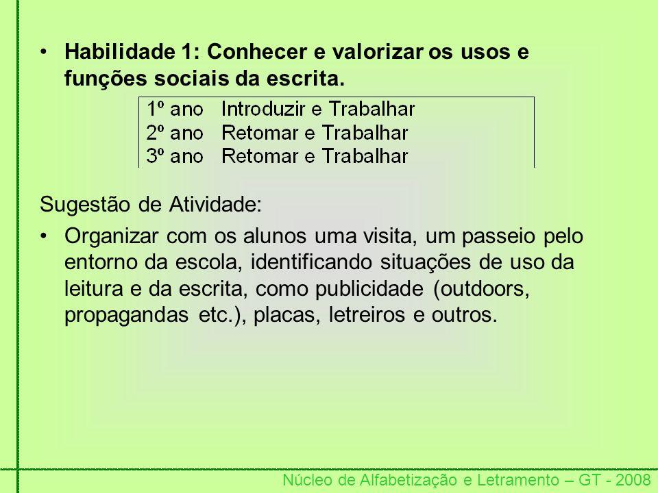 Núcleo de Alfabetização e Letramento – GT - 2008 Habilidade 1: Conhecer e valorizar os usos e funções sociais da escrita. Sugestão de Atividade: Organ