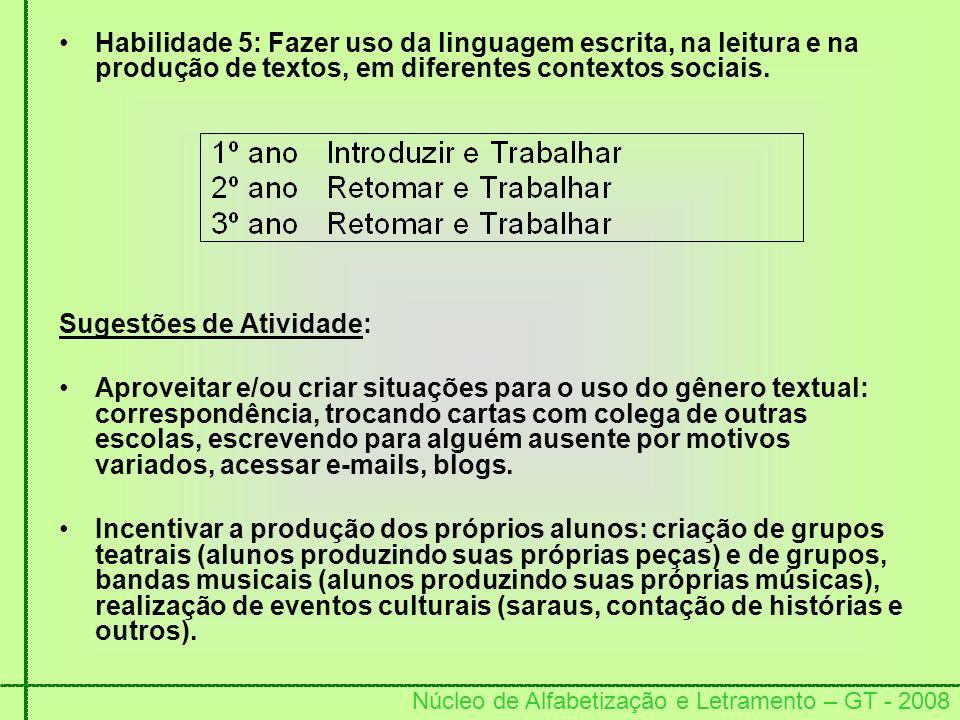 Núcleo de Alfabetização e Letramento – GT - 2008 Habilidade 5: Fazer uso da linguagem escrita, na leitura e na produção de textos, em diferentes conte
