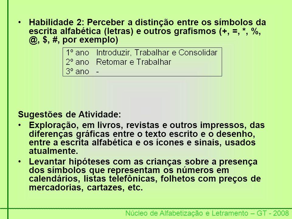 Núcleo de Alfabetização e Letramento – GT - 2008 Habilidade 2: Perceber a distinção entre os símbolos da escrita alfabética (letras) e outros grafismo