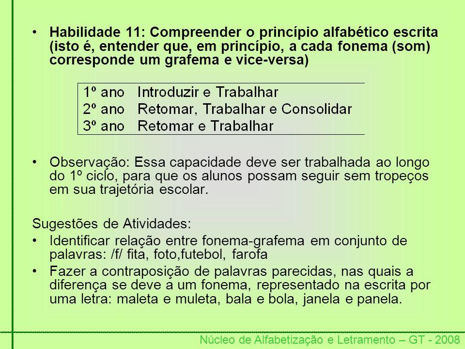 Núcleo de Alfabetização e Letramento – GT - 2008 Habilidade 11: Compreender o princípio alfabético escrita (isto é, entender que, em princípio, a cada