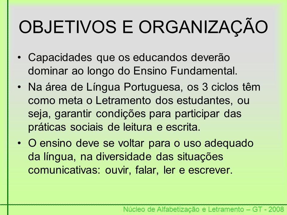 Núcleo de Alfabetização e Letramento – GT - 2008 OBJETIVOS E ORGANIZAÇÃO Capacidades que os educandos deverão dominar ao longo do Ensino Fundamental.