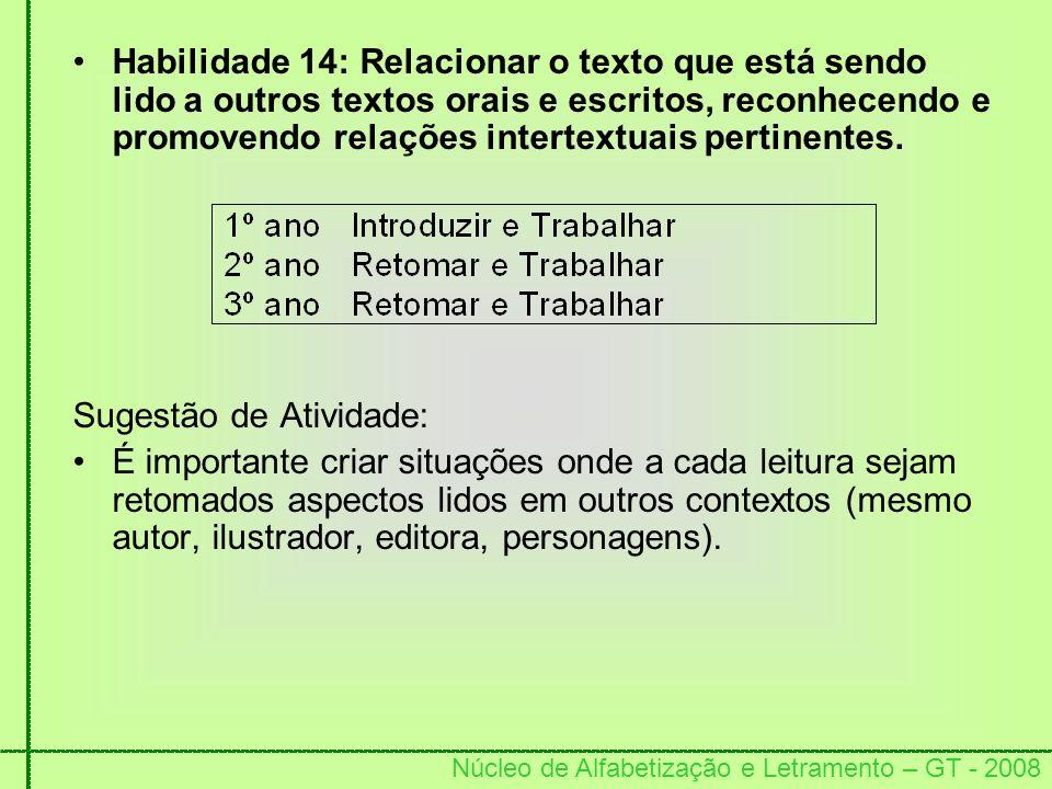 Núcleo de Alfabetização e Letramento – GT - 2008 Habilidade 14: Relacionar o texto que está sendo lido a outros textos orais e escritos, reconhecendo