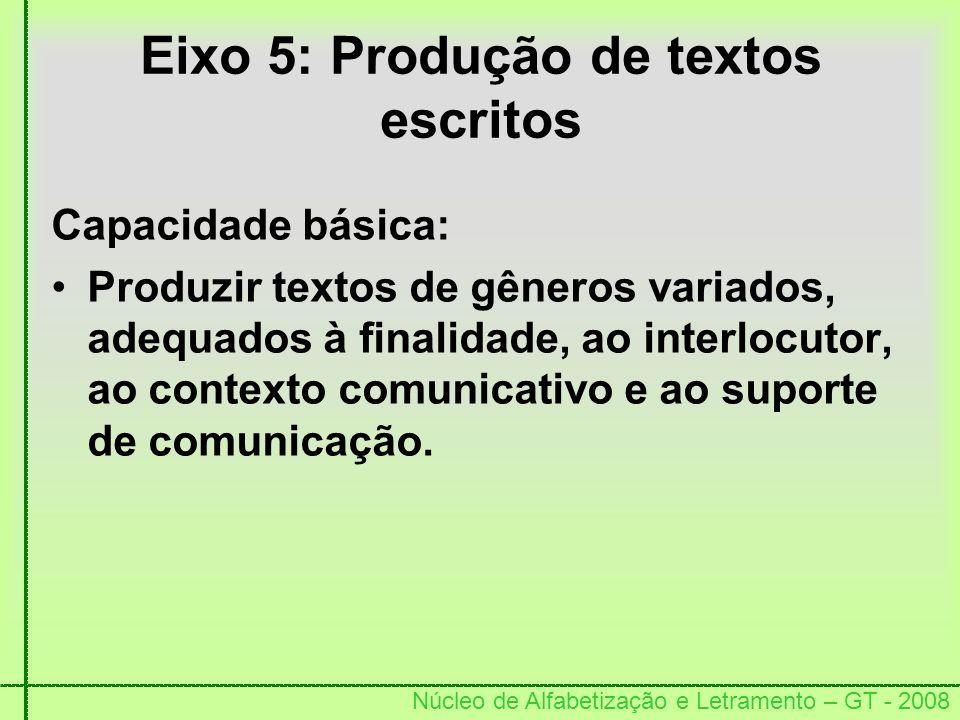 Núcleo de Alfabetização e Letramento – GT - 2008 Eixo 5: Produção de textos escritos Capacidade básica: Produzir textos de gêneros variados, adequados