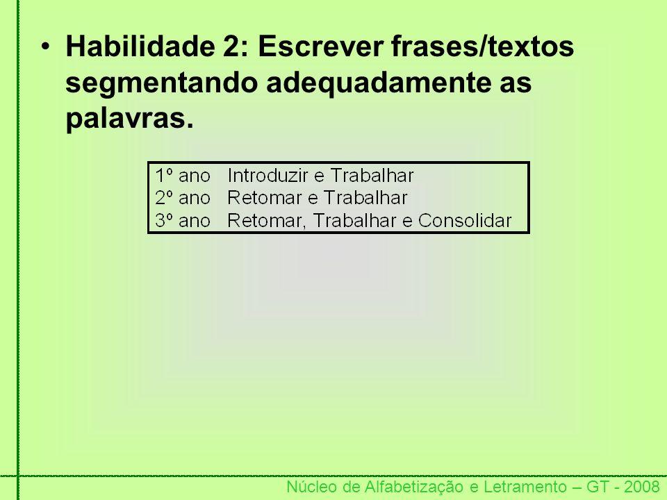 Núcleo de Alfabetização e Letramento – GT - 2008 Habilidade 2: Escrever frases/textos segmentando adequadamente as palavras.